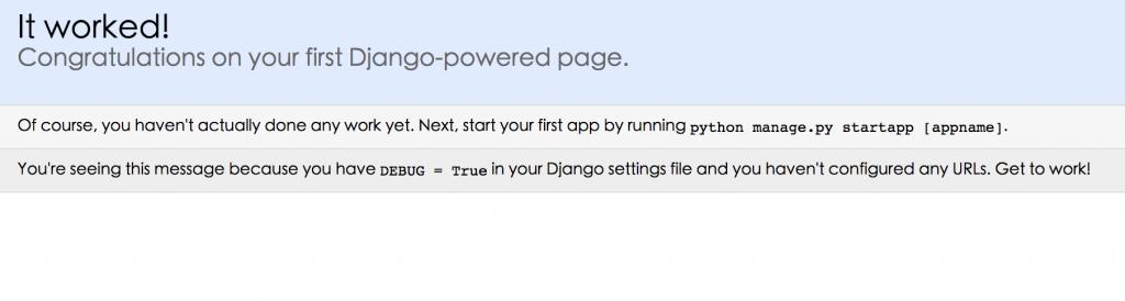 Django welcome page