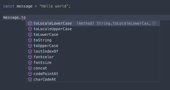 TypeScript 會自動幫我們把型別對應的方法都列出來喔