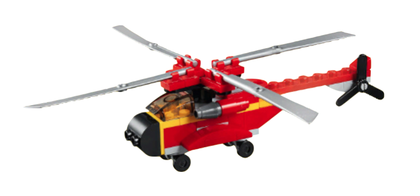 一台樂高積木堆疊而成的直升機