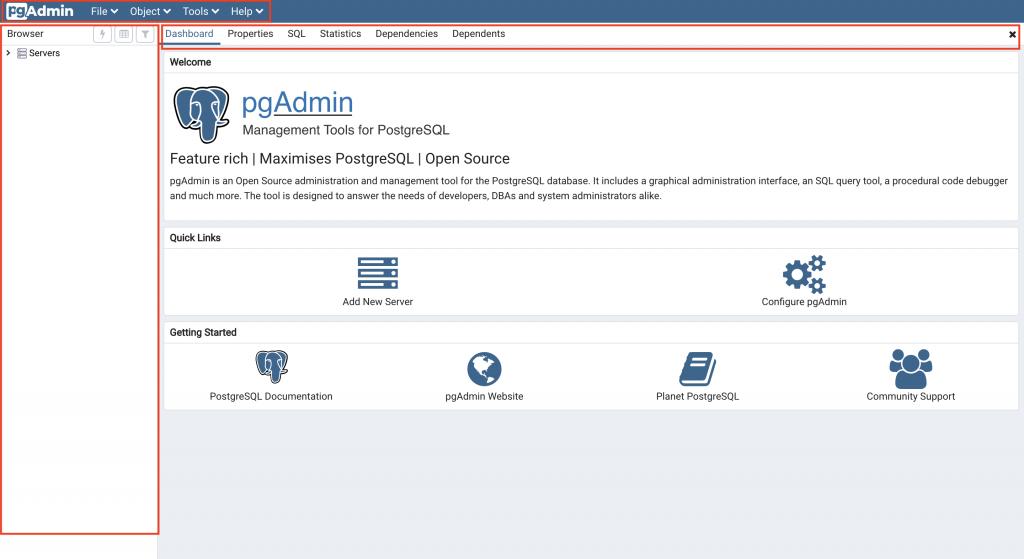 pgAdmin4主畫面