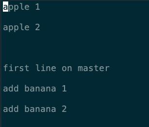 出現的兩行 banana 分支所加入的文字