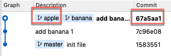apple 和 banana 的分支,在同一個 commit