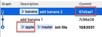 只有 banana 分支有變更