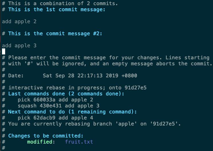 編輯調整後的 commit message
