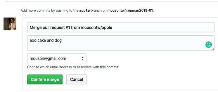 保留來源作者提供的 commit message 外,也可以自己修改