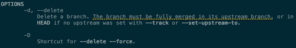 -D 參數代表著原本的 --delete --force