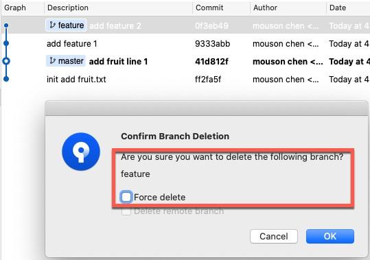 詢問是否「Force delete」的選項