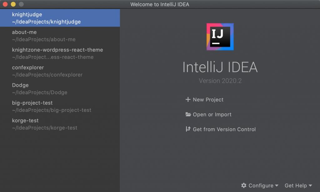 IntelliJ IDEA 開啟新專案視窗