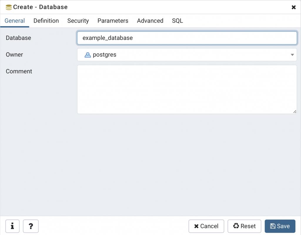 創建 example_database 資料庫