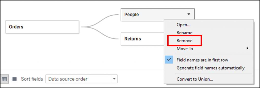 移除 Logical Layer 中的資料表