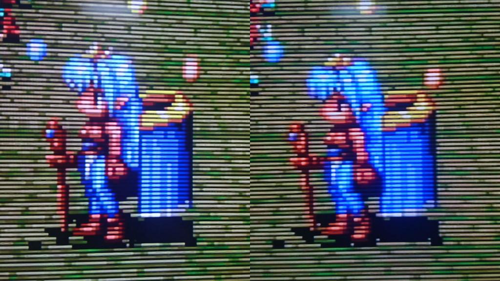 在 XRGB-mini 下用 SCART(左) 和 S-Video(右) 端子的比較