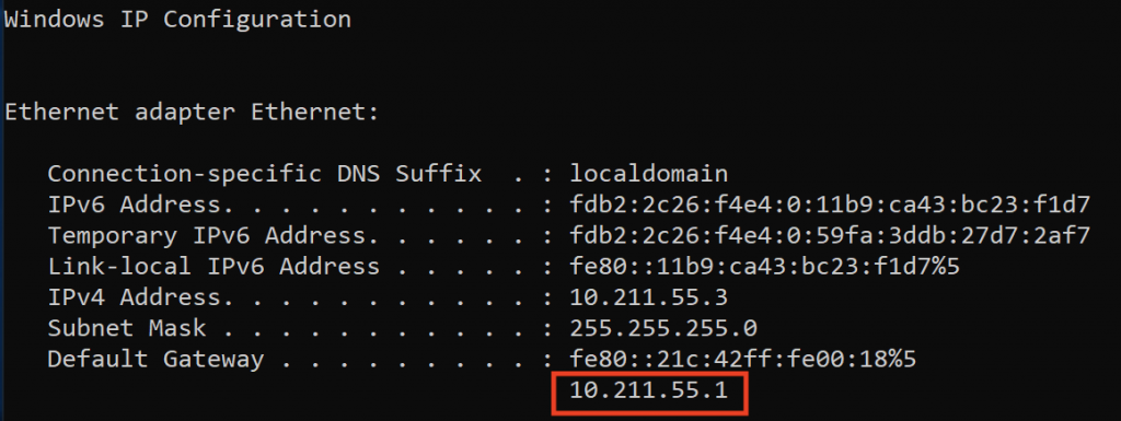 Windows ipconfig