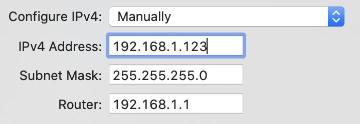 在 Mac 上手動設定 IP Address